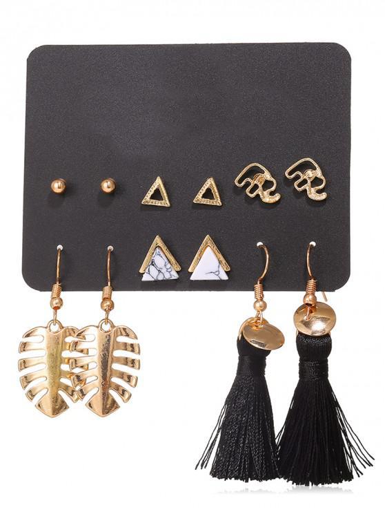 fashion Leaf Shape Tassel Stud 6Pcs Earring Set - GOLD