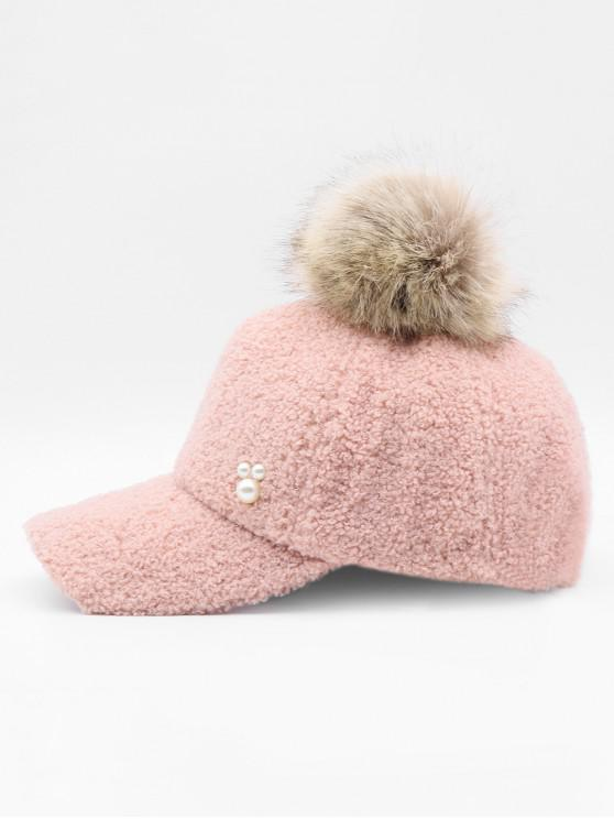 5413afdeb 12% OFF] 2019 Stylish Faux Pearl Fuzzy Ball Baseball Cap In PINK | ZAFUL