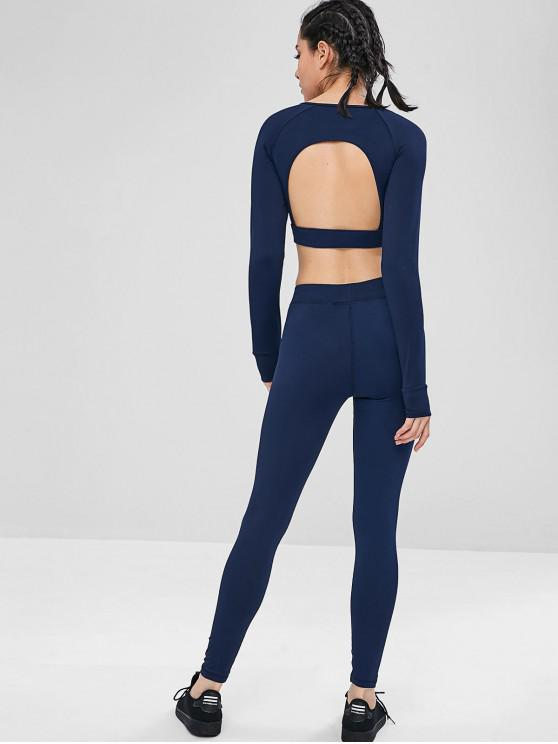 women Cut Out Crop Gym Tee and Leggings Suit - BLUE M