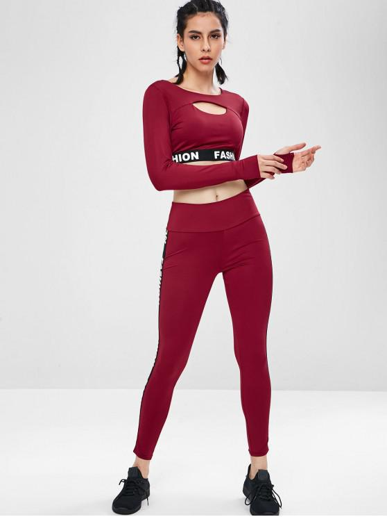 lady Letter Trim Crop Gym Tee and Leggings Set - RED WINE L