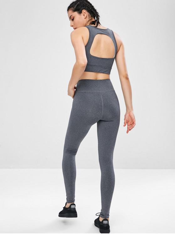 online Yoga Cut Out Gym Bra and Leggings Suit - GRAY L