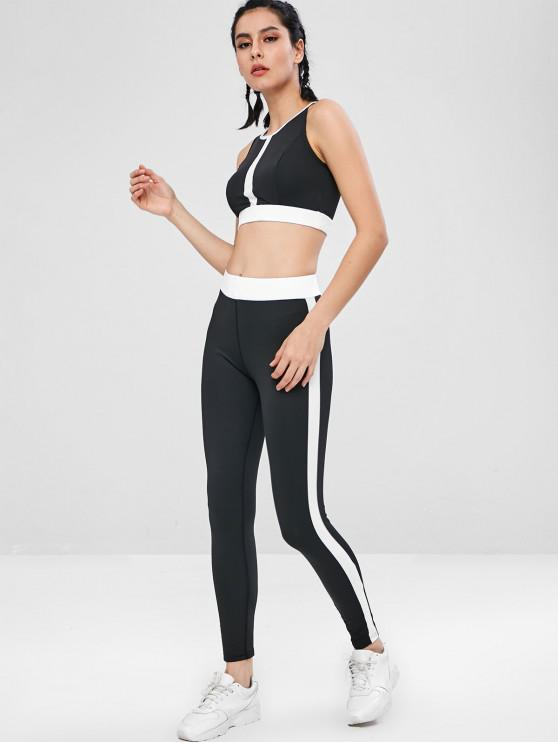 shops Contrast Two Tone Gym Bra and Leggings Set - BLACK L