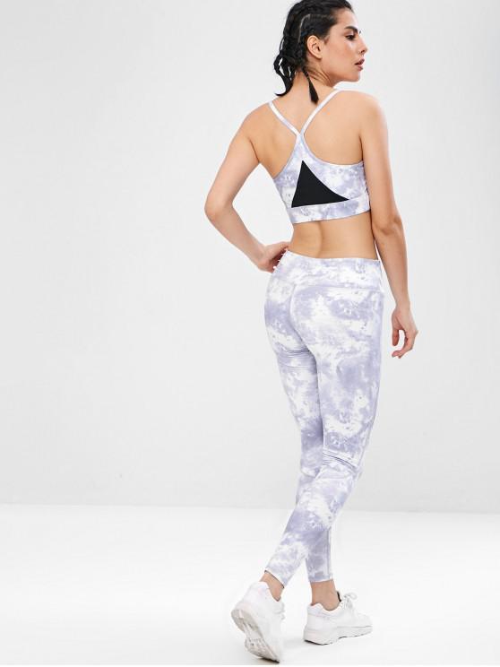 women's Tie Dye Yoga Gym Bra and Leggings Set - GRAY L