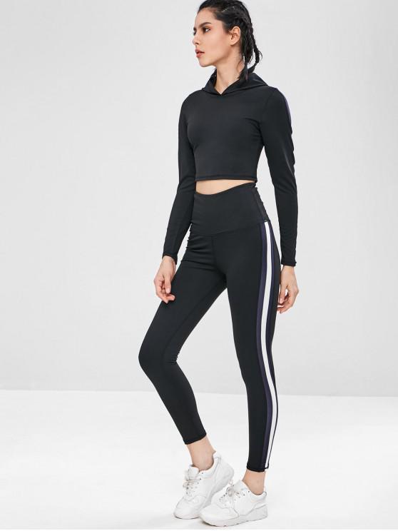 best Workout Crop Gym Hoodie and Leggings Set - BLACK M
