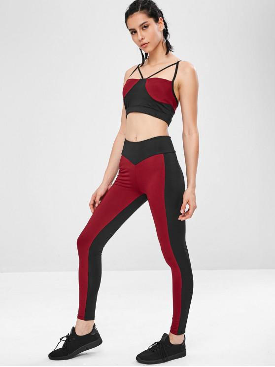 hot Two Tone Gym Bra and Leggings Suit - RED WINE L