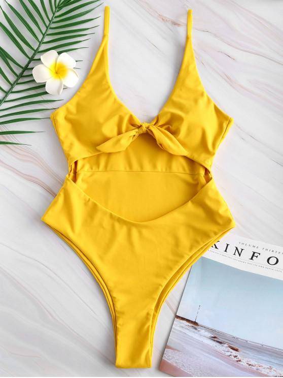 outfit Tie Front Cutout High Leg Swimsuit - GOLDEN BROWN S