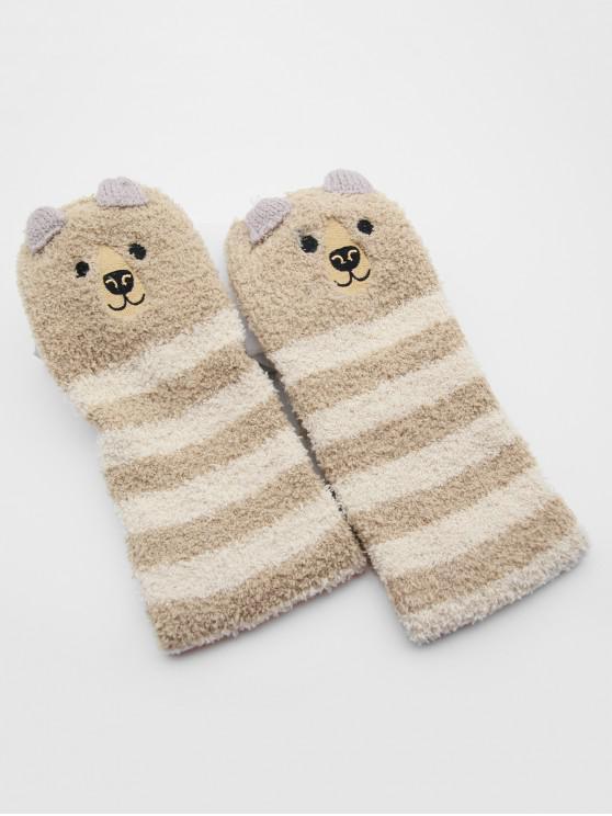 Christmas Elk Striped Fuzzy Floor Socks - كاكي