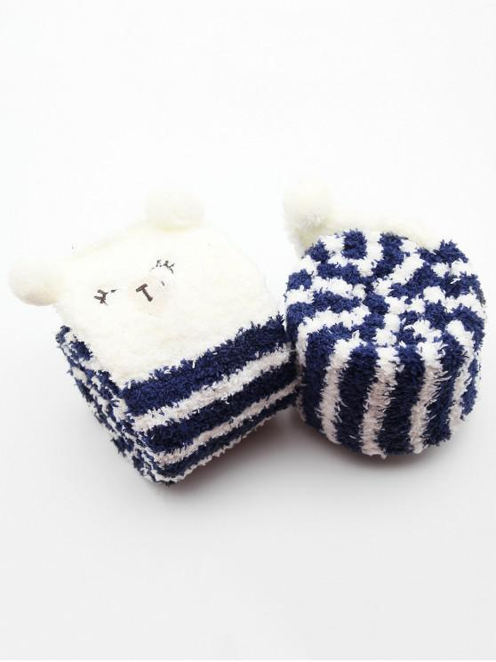 unique Cute Animal Color Block Fuzzy Socks - BLUE