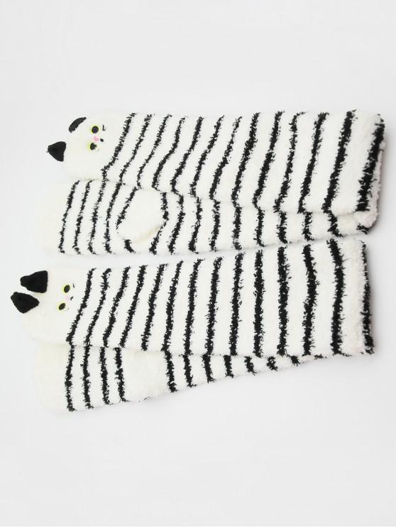 Chaussettes Fourrées Animal Mignon en Blocs de Couleurs - Noir