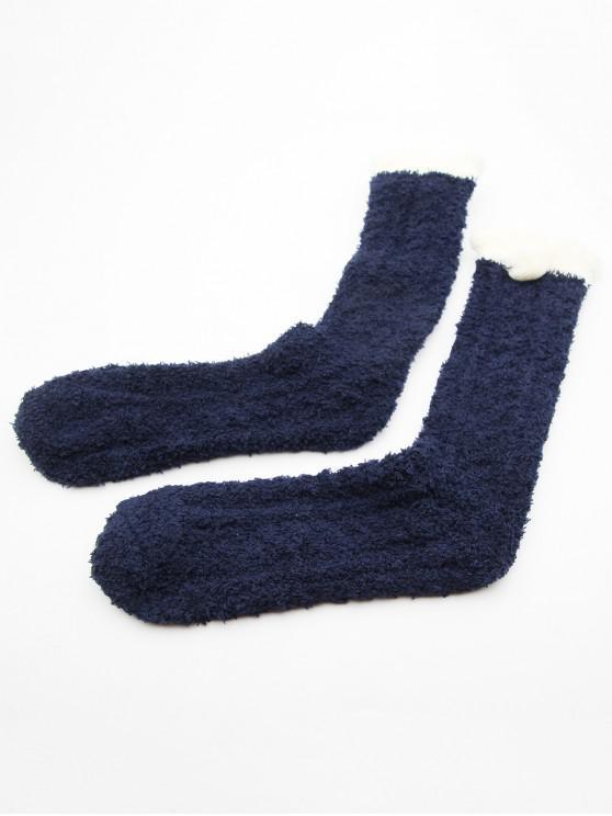 latest Winter Fuzzy Ball Medium Socks - MIDNIGHT BLUE