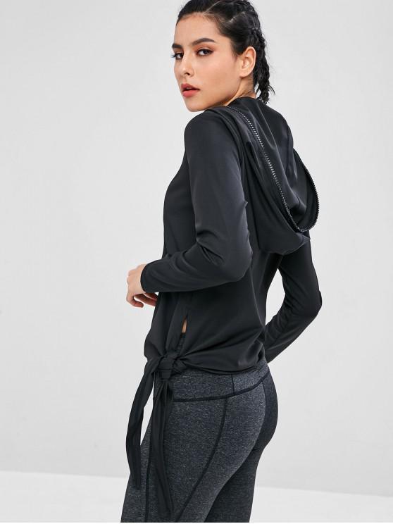fashion Zip Tied Side Gym Hoodie - BLACK M