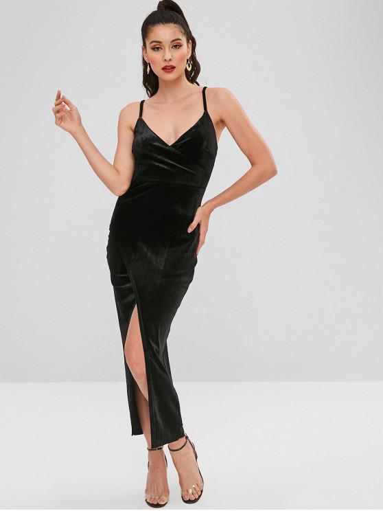 women's Velvet Cami Front Slit Dress - BLACK M