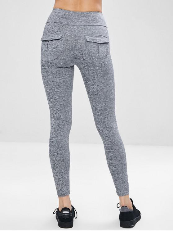 affordable Pocket Space Dye Workout Gym Leggings - GRAY L