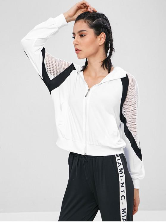 latest Mesh Panel Zip Up Sports Hoodie - WHITE L