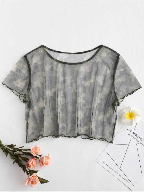 outfits Camo Plus Size Mesh Cover Up Tee - MULTI 2X