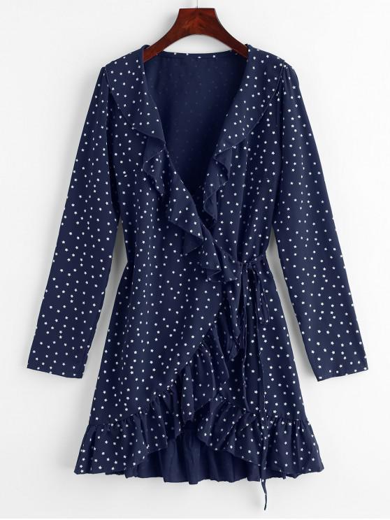 Star Ruffle Wrap Mini Vestido - Azul da Meia Noite S