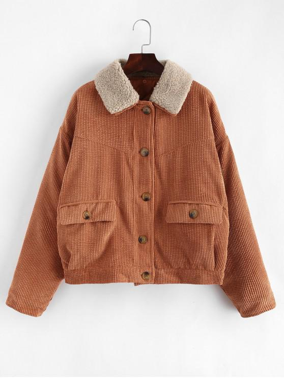 ladies Corduroy Drop Shoulder Pocket Jacket - BROWN M