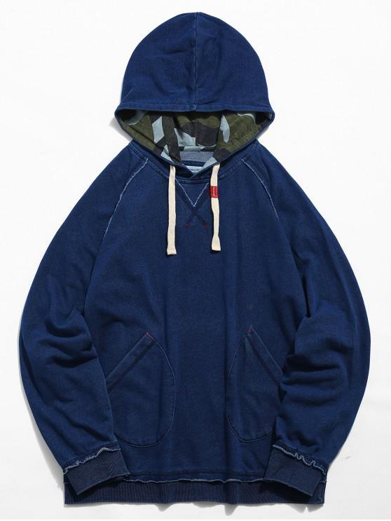 hot Pocket Seam Pullover Hoodie - DENIM DARK BLUE L