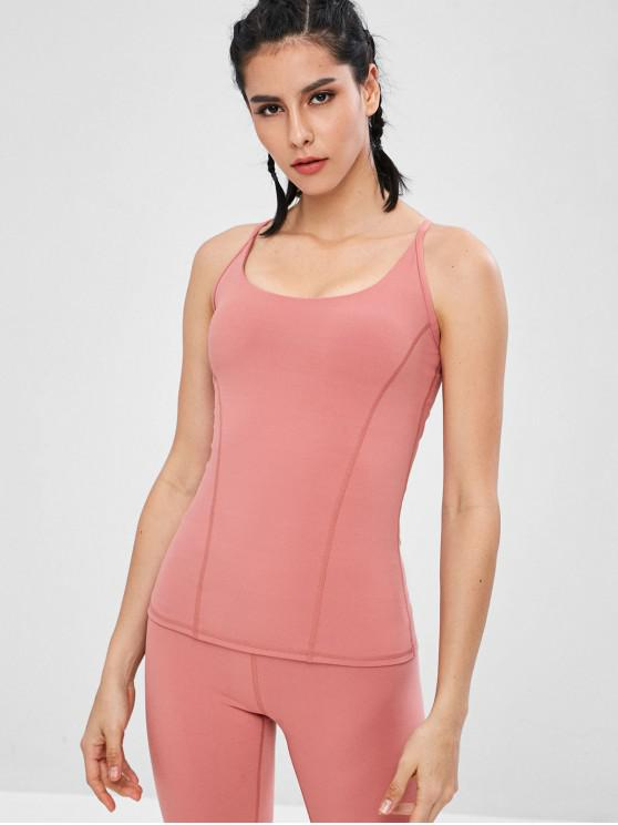 outfits Strappy Sports Tank Top With Shelf Bra - PINK M