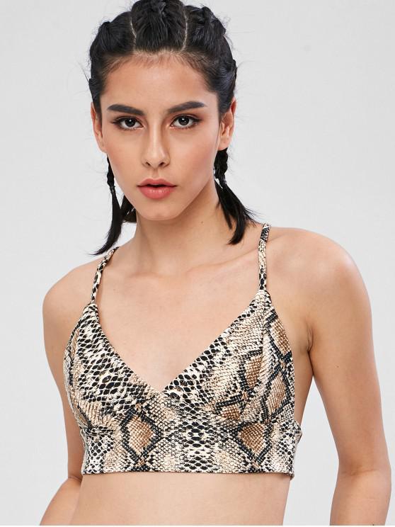 Impressão de cobra Cross Crop Cami Top - Multi S