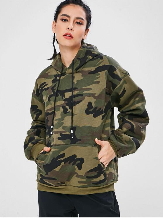 trendy Camo Print Pouch Pocket Oversized Hoodie - ACU CAMOUFLAGE L
