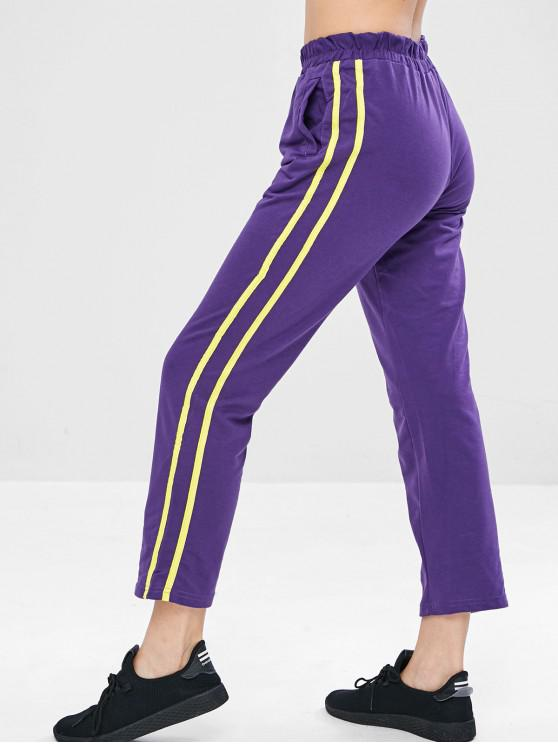 shop Side Tape Straight Leg Sweat Pants - PURPLE L