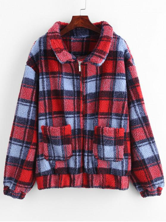 affordable ZAFUL Zip Up Fluffy Plaid Teddy Winter Coat - LAVA RED M