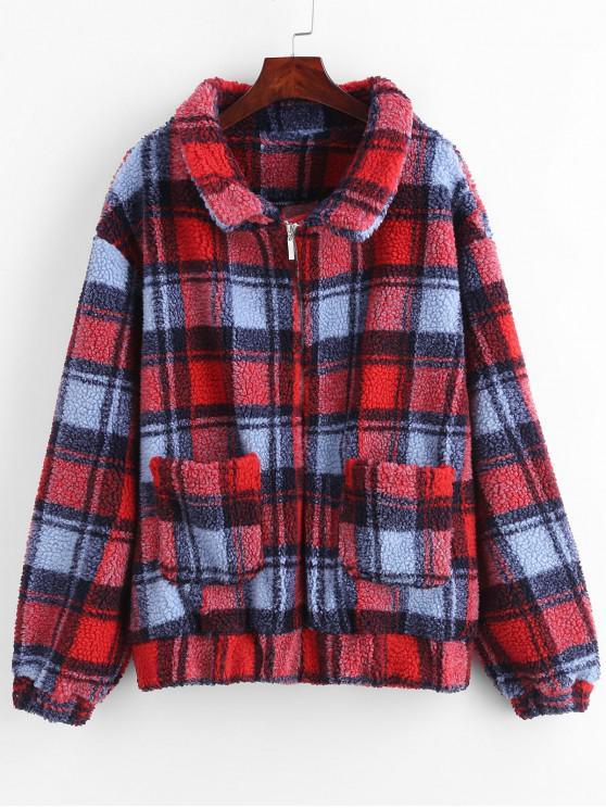 ZAFUL Zip Up Fluffy Plaid Teddy Winter Coat - Rojo Lava L