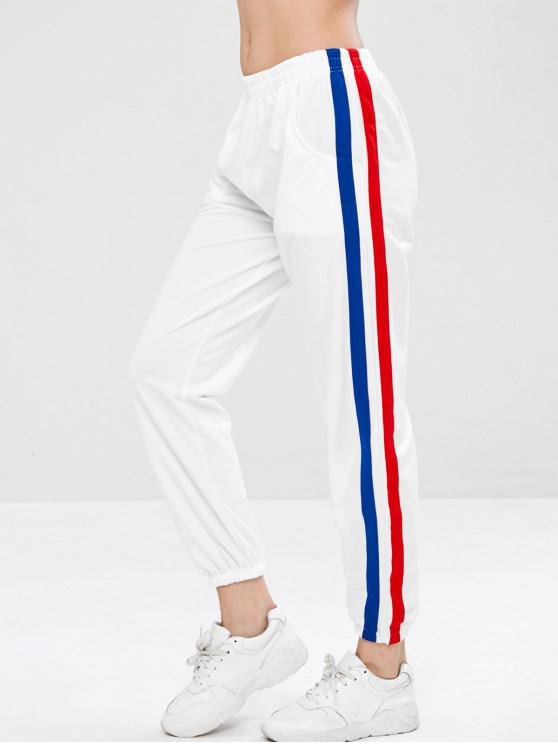 2fc3b727350 32% OFF  2019 Side Tape Track Jogger Pants In WHITE