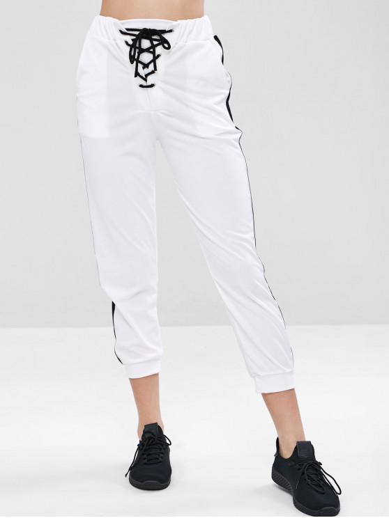 buy Lace-up Pocket Gym Jogger Pants - WHITE L