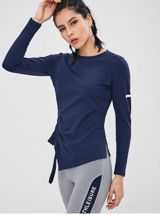 hot Gathered Side Long Sleeve Sports Top - DEEP BLUE L