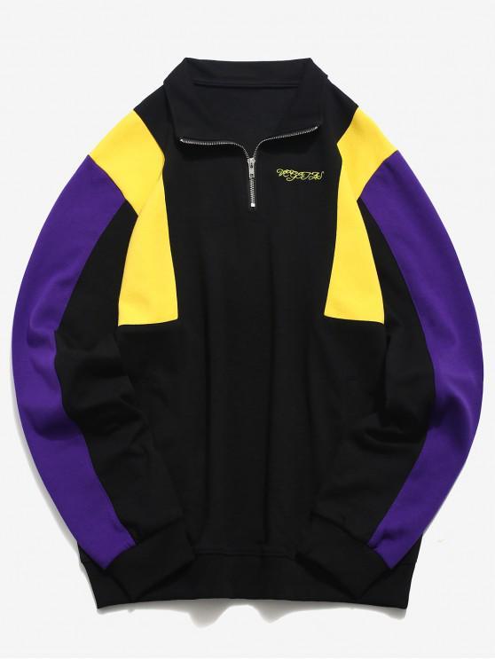 trendy Top Zipper Contrast Color Sweatshirt - BLACK XL
