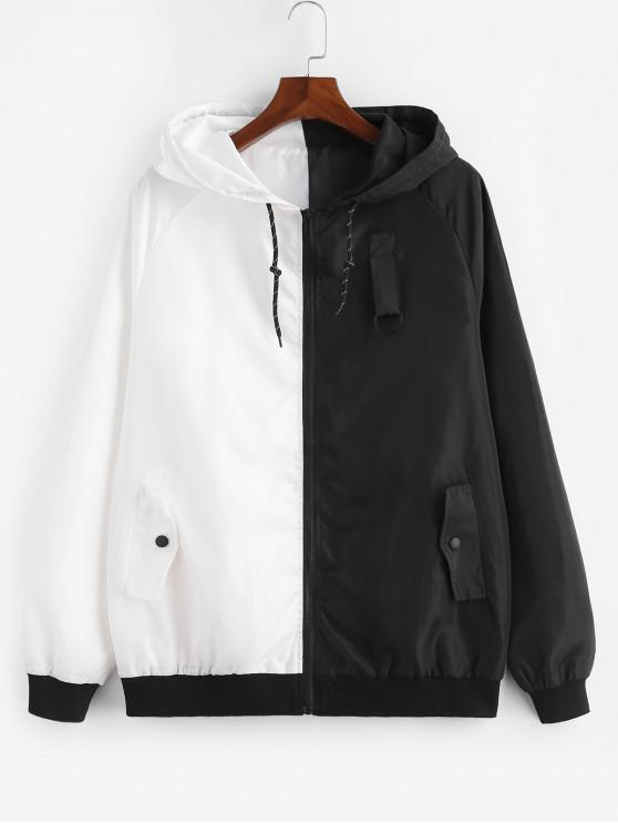 unique ZAFUL Contract Color Drawstring Hooded Zipper Jacket - WHITE S