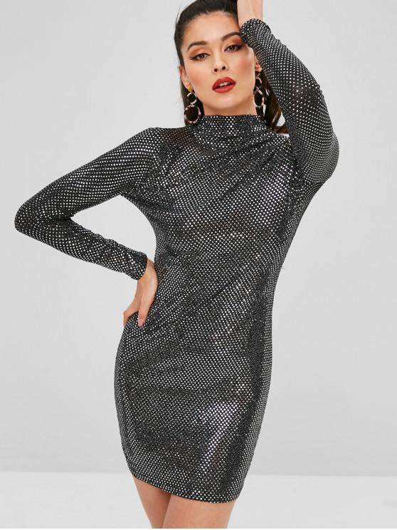 chic High Neck Sequined Fitted Dress - BLACK ONE SIZE
