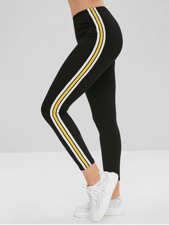 Calças skinny listradas remendadas de cintura elástica - Preto L