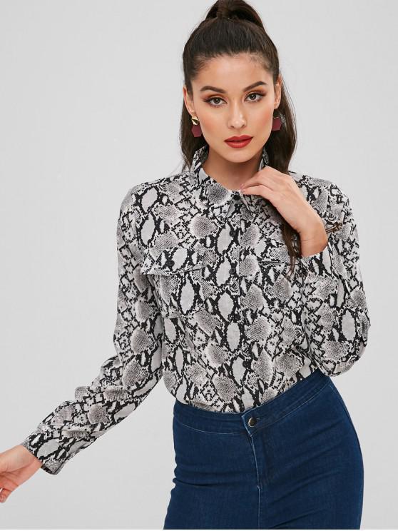 380124d2d974 19% OFF] 2019 Flap Pockets Snake Print Shirt In GRAY | ZAFUL