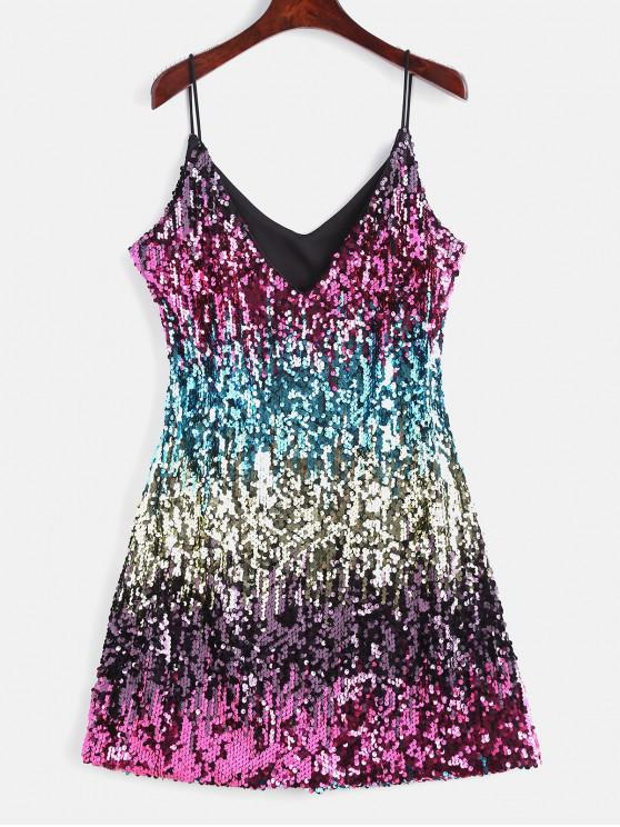 fancy Sparkly Sequin Cami Night Out Party Dress - MULTI M