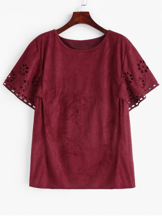 hot Openwork Faux Suede Plus Size Tee - RED WINE 3X