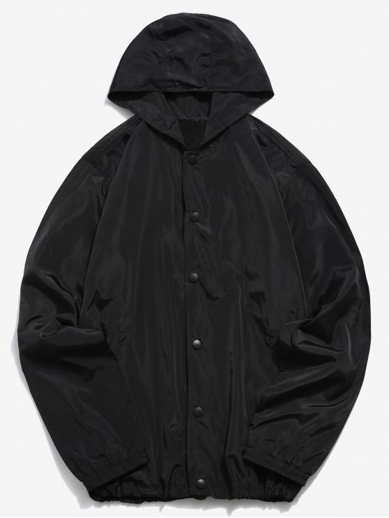 fashion Solid Snap Button Windbreaker Jacket - BLACK 2XL