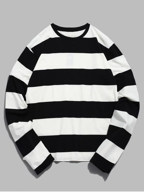 best Contrast Striped Long Sleeve T-shirt - WHITE L