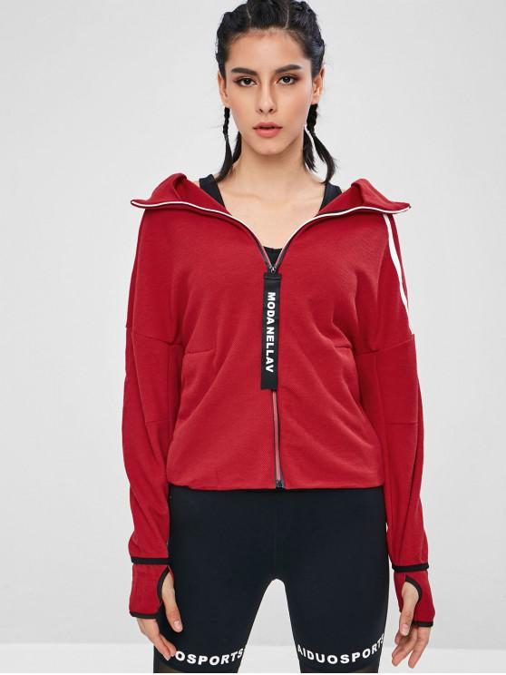 unique Graphic Zip Up Hooded Sports Jacket - RED M
