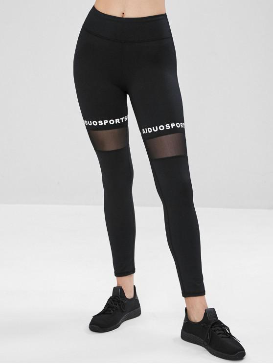 buy Graphic Mesh Sports Leggings - BLACK L