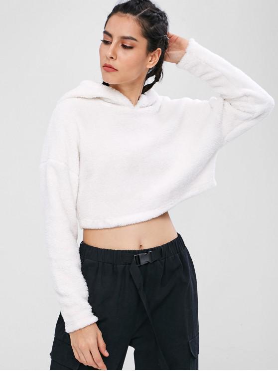 buy ZAFUL Fluffy Drop Shoulder Crop Teddy Hoodie - WHITE S