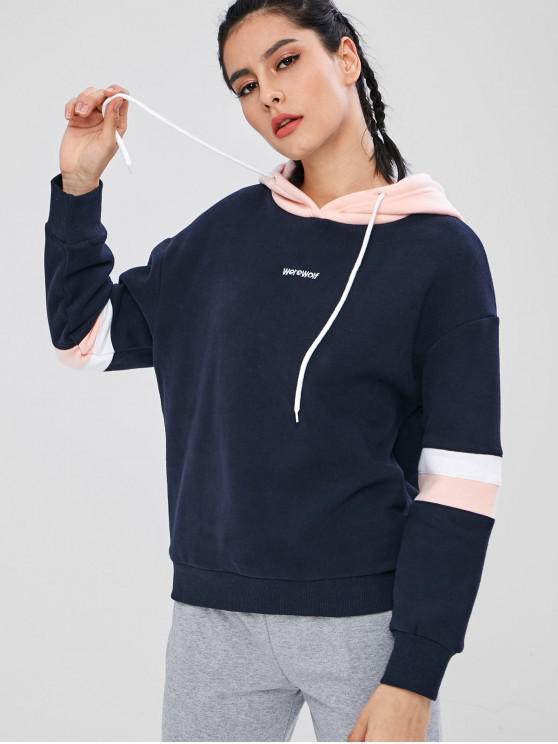 ZAFUL Color Block Fleece Drawstring Hoodie - Multicolor M