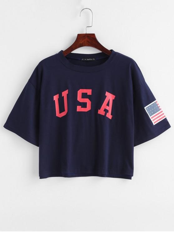 chic ZAFUL American Flag Print Tee - DEEP BLUE S