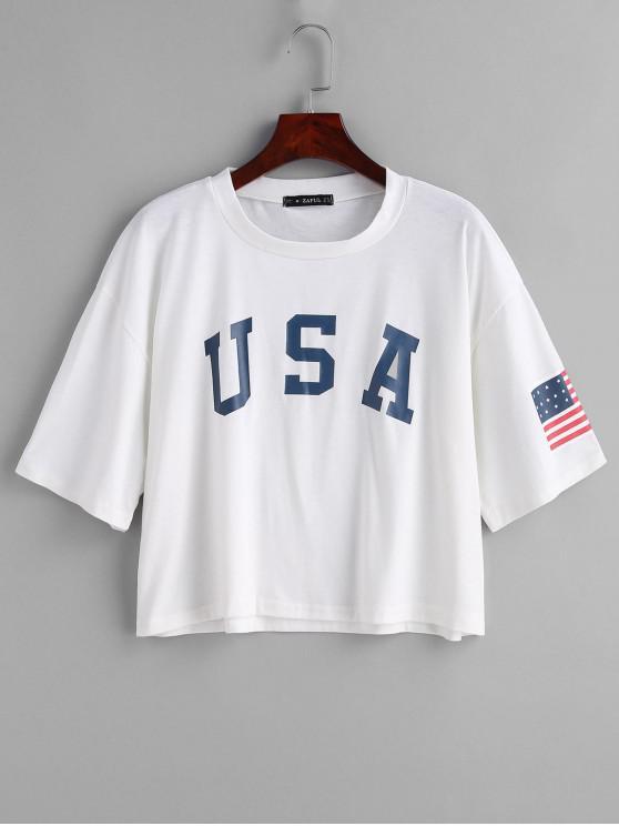T-Shirt Con Stampa Bandiera Americana Di ZAFUL - Bianca L