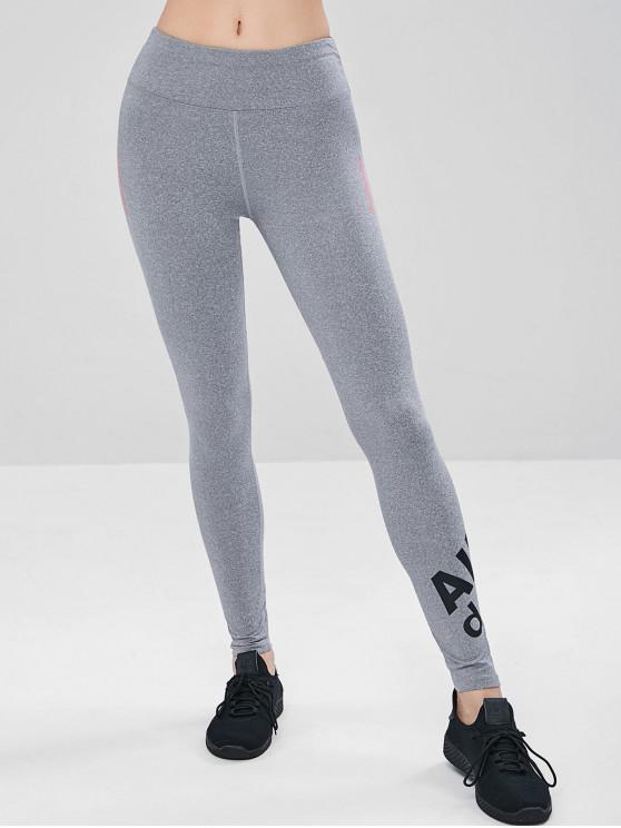 trendy Active Graphic Tights Sports Leggings - LIGHT GRAY XL
