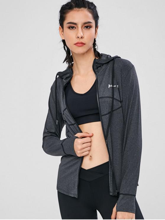 fancy Zip Up Hooded Gym Jacket - BLACK L