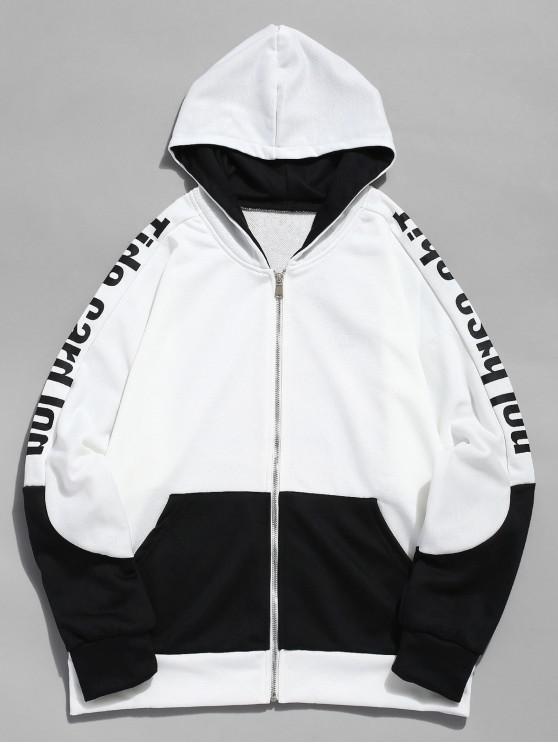 hot Letter Contrast Zipper Sports Jacket - WHITE L