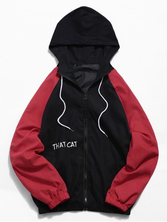 women Raglan Sleeve Contrast Cat Graphic Jacket - BLACK XS